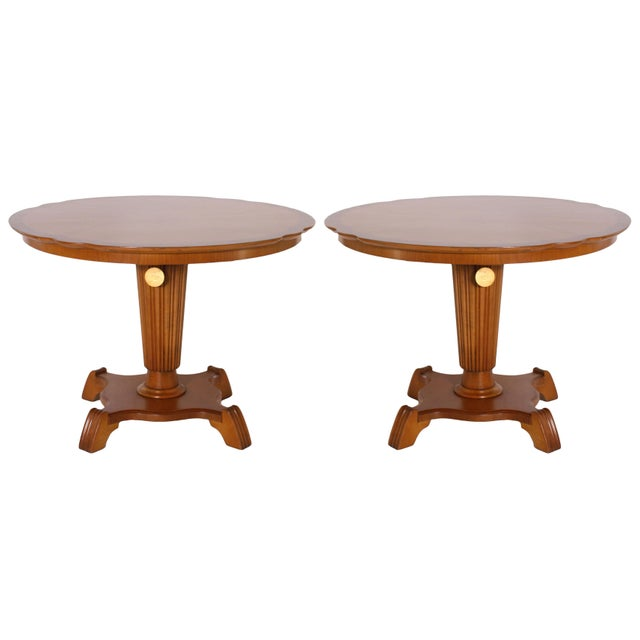 Round Elm Tables With Pedestal, C. 1920 - a Pair For Sale In Dallas - Image 6 of 6