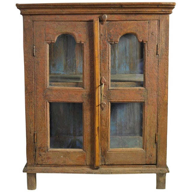Late 18th Century Painted Wood Hanging Shelf With Glass Doors For Sale In San Diego - Image 6 of 6