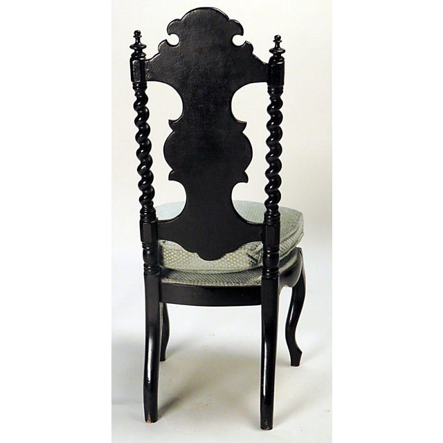 English Traditional Victorian Ebonized Inlaid Side Chair For Sale - Image 3 of 5