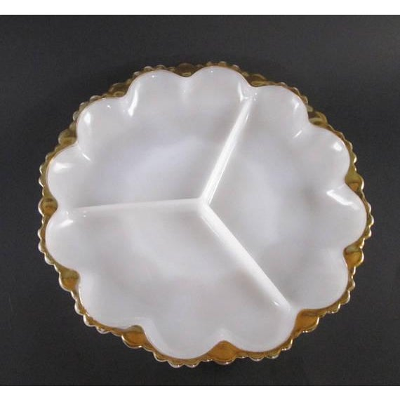 1960s Vintage Milk Glass Relish Plate For Sale - Image 5 of 5