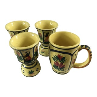 1960s French Henriot Quimper Handpainted Yellow Soleil Wine Cups and Mug - 4 Piece Set For Sale