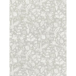 Sample, Scalamandre Tulia Linen Print, French Grey Fabric For Sale