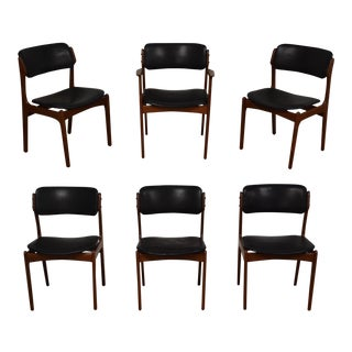 Erik Buch Teak & Leather Dining Chairs -Set of 6 For Sale