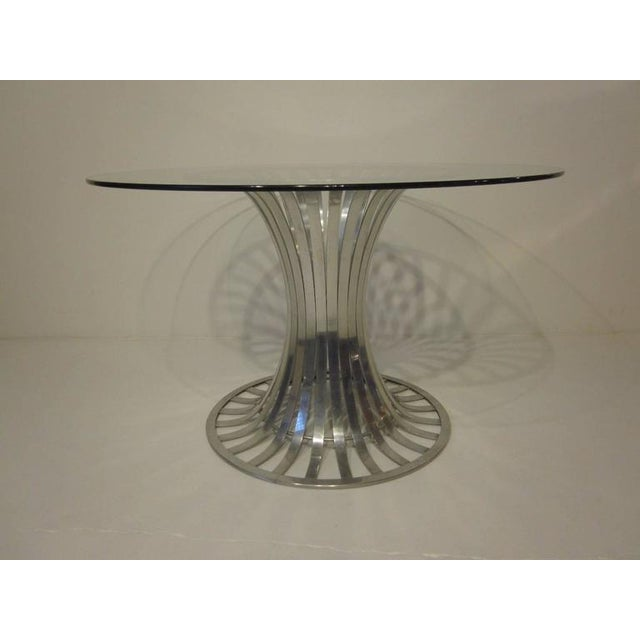 Silver Russell Woodard Aluminium and Glass Dining Table For Sale - Image 8 of 8