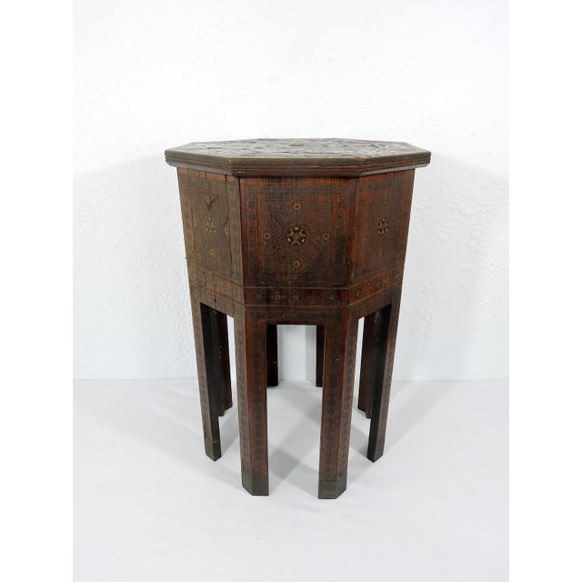 Islamic Old Morrocan Inlaid Mother of Pearl, Bone & Multi Wood Octagonal Occasional Side Table For Sale - Image 3 of 13