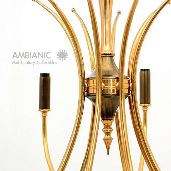 Gold Italian Chandelier After Guglielmo Ulrich For Sale - Image 8 of 10