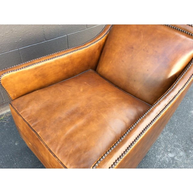 Brown Brown Leather Club Chair For Sale - Image 8 of 12