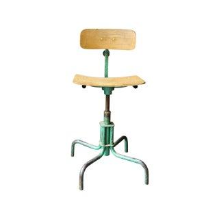 Vintage Wood & Metal Desk Chair
