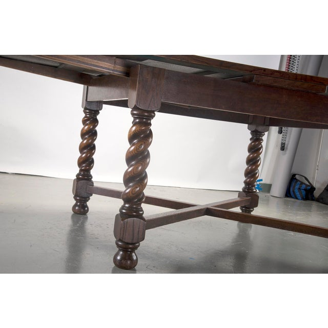 French Provincial Dutch Oak Refectory Table with Large Barley Twist Legs For Sale - Image 3 of 6
