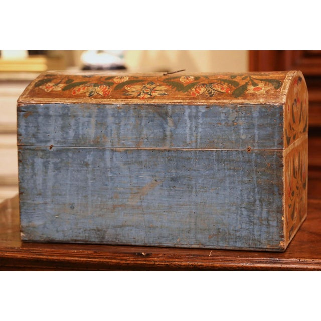 18th Century French Normand Painted Wedding Box With Bird and Floral Motifs For Sale - Image 10 of 12