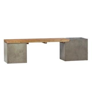 Concrete & Oak Planter Bench For Sale