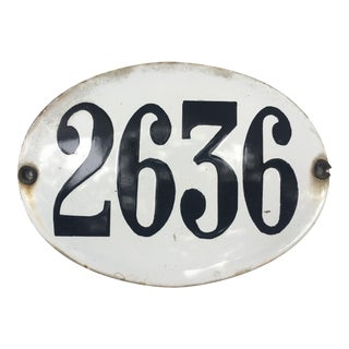 Antique Argentinan Enamel Street Number Sign For Sale
