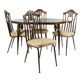 1960's Howell Co. Victorian Style Metal Dining Table and Chairs Set For Sale