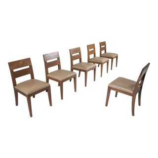 Liaigre Dining Chairs Set of Six in Stained Oak and Leather - 1999 For Sale