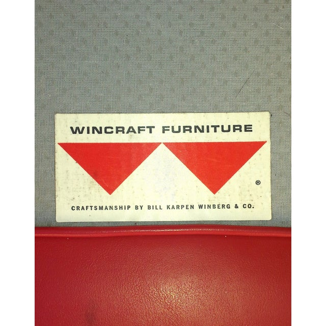 Lipstick Red Vinyl Club Chairs - A Pair For Sale - Image 7 of 11