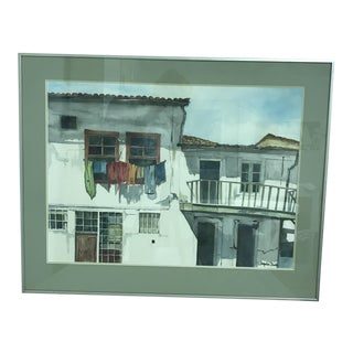 """1980s Jacqueline Burke """"House Fronts in Greece"""" Original Watercolor Painting For Sale"""