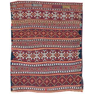 Afshar supplemental weft bagface fragment For Sale