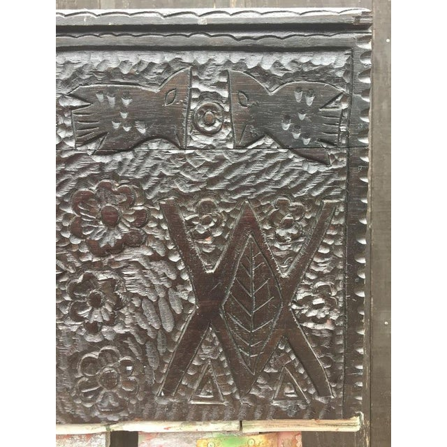 Wood Masonic Iconography Hand Carved Chest For Sale - Image 7 of 10