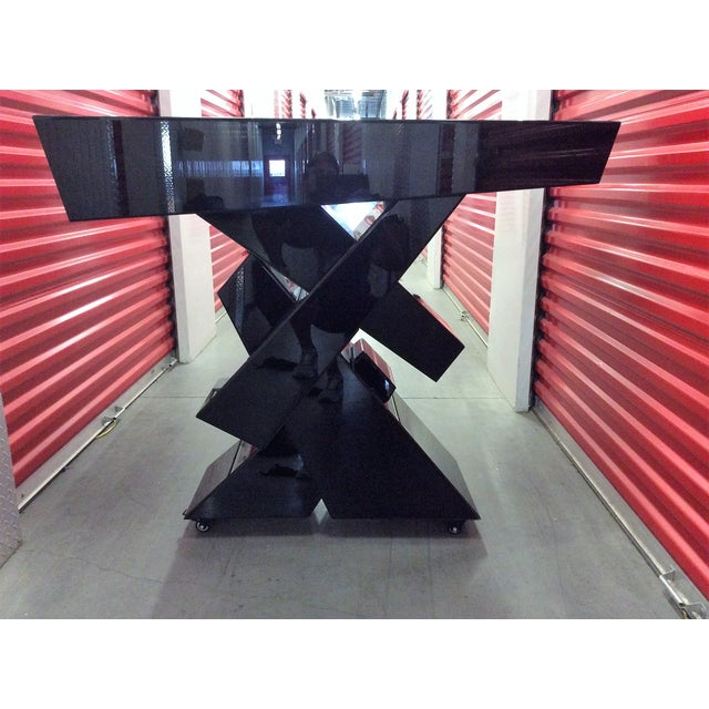 Modern Black Beveled Mirror Console Table - Image 6 of 11
