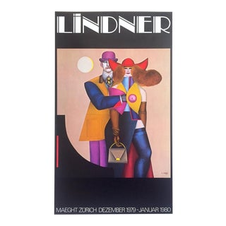 "Richard Lindner Rare Vintage 1979 Galerie Maeght Zurich Lithograph Print Pop Art Exhibition Poster "" Couple "" 1977 For Sale"
