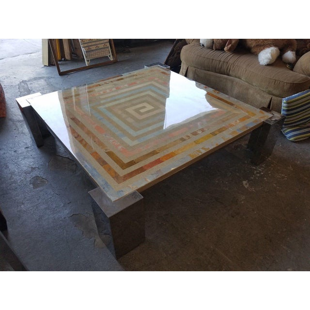 1970s 1970s Modern Marcello Mioni Pietra Dura Marble & Chrome Coffee Table For Sale - Image 5 of 11