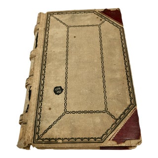1903 Vintage Canvas and Leather Ledger For Sale