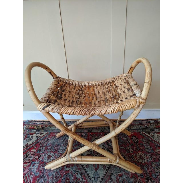 Vintage Bamboo Bench Footstool For Sale - Image 11 of 11