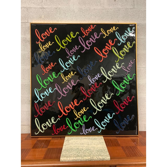 Monumental Art Framed Oil Painting With Resin on Canvas With Love Words by Franchy For Sale - Image 13 of 13