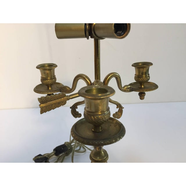 French French Antique Brass Candelabra Converted Into a Table Lamp For Sale - Image 3 of 9