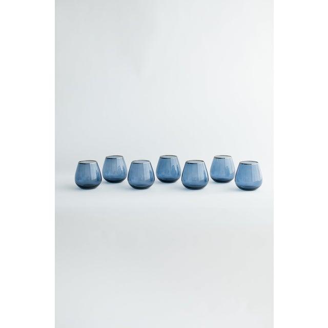 Siren Beverageware Atlantic Blue + Gold Short Stemless - Set of 4 For Sale - Image 4 of 5