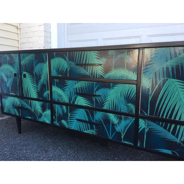Mid-Century Palm Leaf Print Credenza - Image 3 of 5
