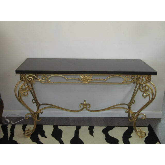 Metal 1950s Vintage Gold Leaf Wrought Iron Console Table For Sale - Image 7 of 7