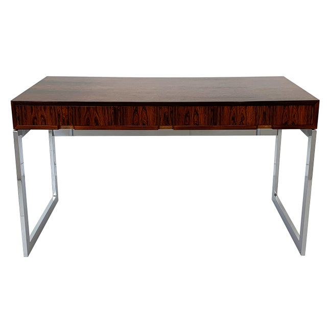 Mid-Century Modern Milo Baughman Rosewood and Chrome Desk For Sale - Image 3 of 13