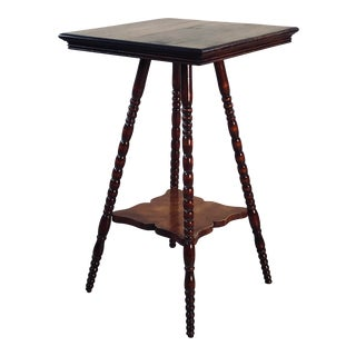Vintage Wood Plant Stand With Turned Legs For Sale