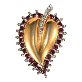 Mazer Sterling Silver Red Rhinestones Heart Leaf Fur Clip Pin Brooch For Sale