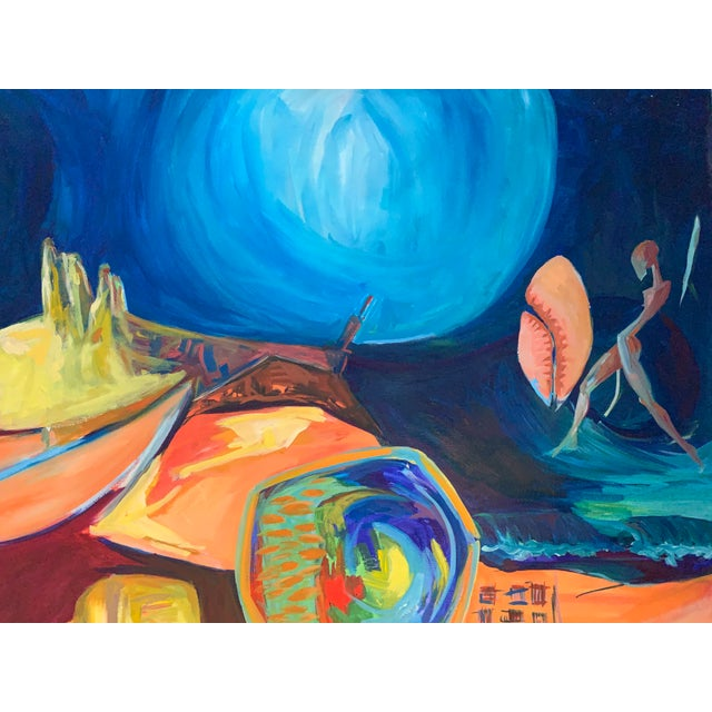 Canvas Large Surrealist Canvas Painting For Sale - Image 7 of 13