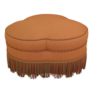 New Sherrill Decorative Upholstered Large Ottoman with Fringe Trim For Sale