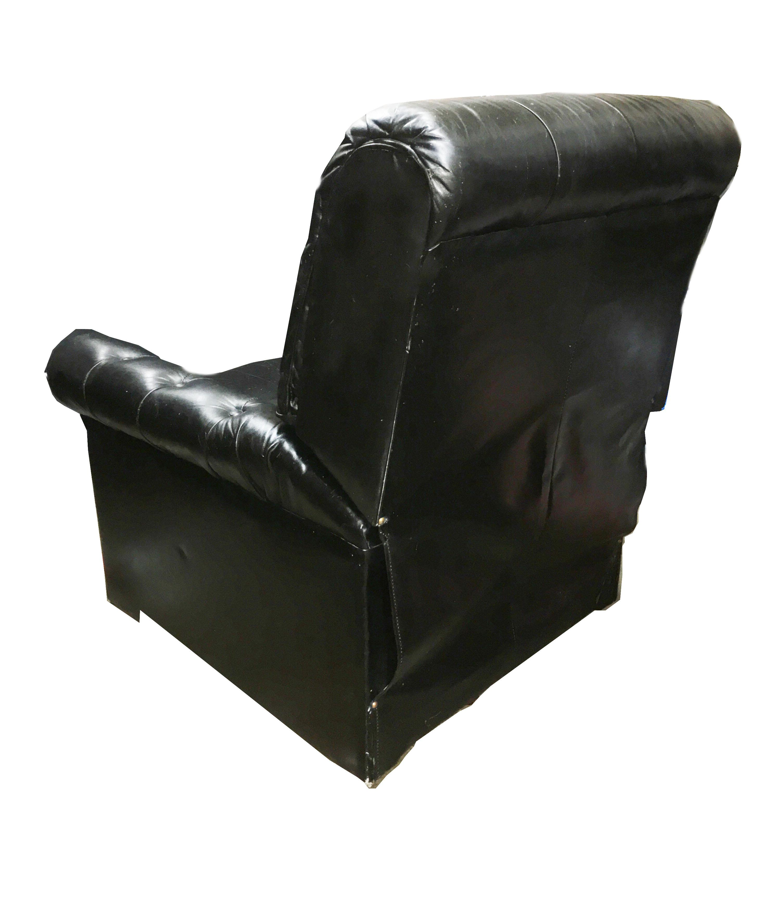 Good Mid Century Chesterfield Black Tufted Leather Recliner Chair   Image 5 Of 7