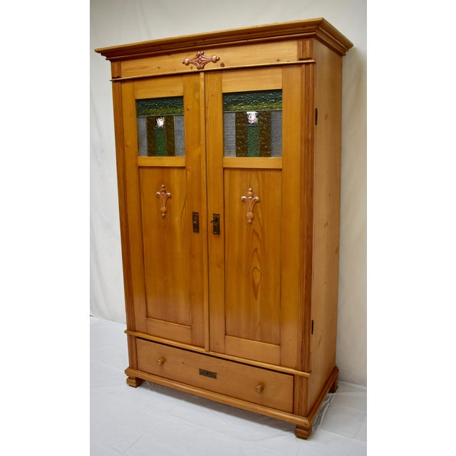 Early 20th Century Pine Two Door Armoire With Art Glass Panels For Sale - Image 5 of 13