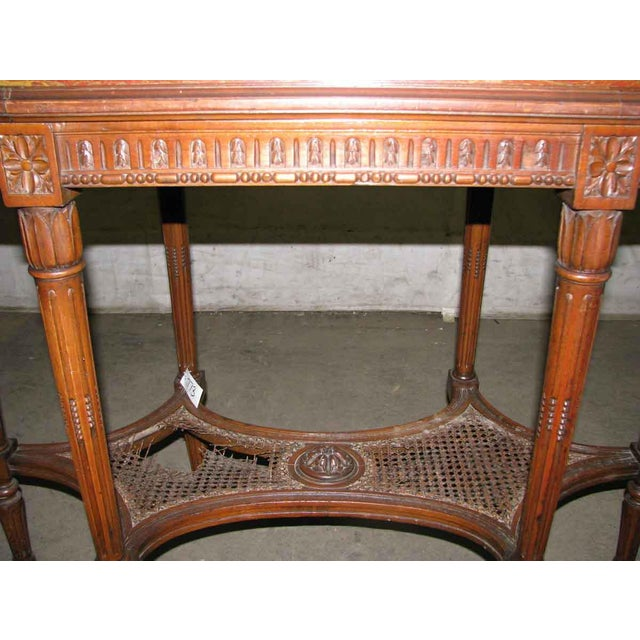 Antique Carved Marble Top Wood Table For Sale - Image 6 of 6