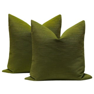 "22"" Strie Velvet Peridot Pillows - a Pair"