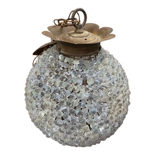 Round Blown Glass Beaded Globe Chandelier For Sale