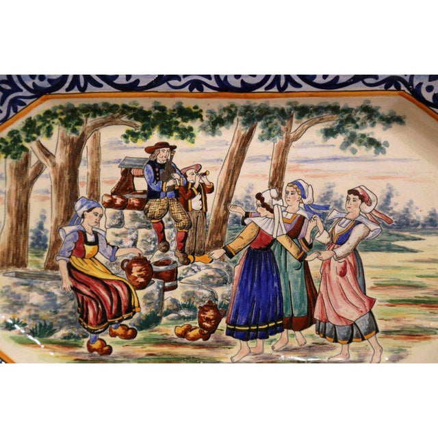 Henriot Quimper Large 19th Century French Hand-Painted Ceramic Platter From Henriot Quimper For Sale - Image 4 of 7