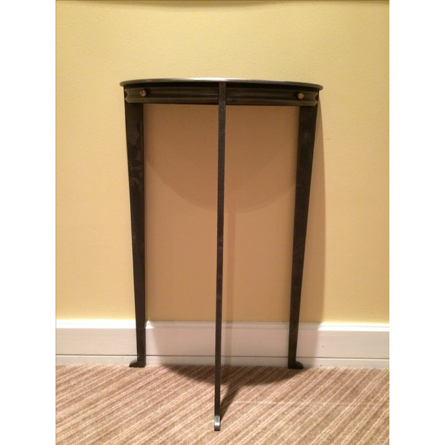 Gun Metal Silver Transitional Demilune Side Table - Image 2 of 6