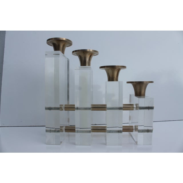 Karl Springer Style Lucite and Brass Candleholder For Sale - Image 7 of 9
