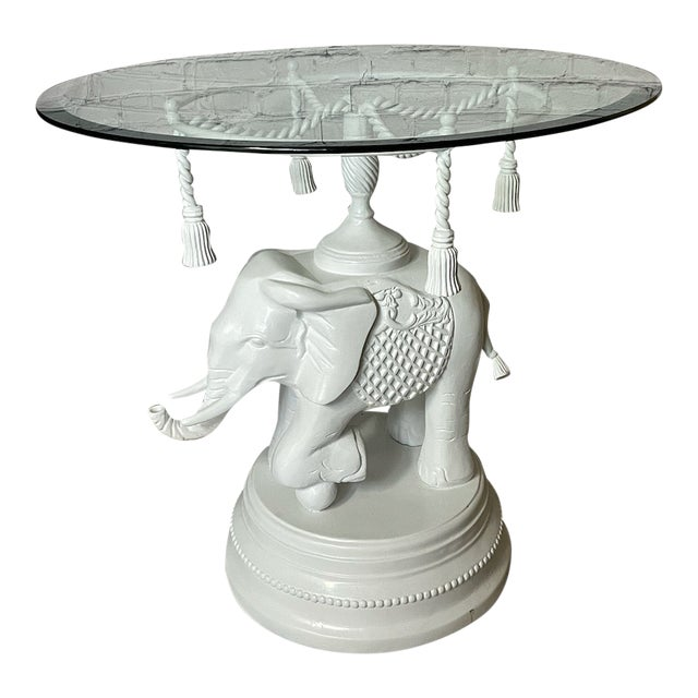 Vintage Glass White Elephant Side Table For Sale