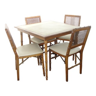 Stakmore Furniture Faux Bamboo Folding Card Table & Chairs