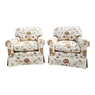Kravet Floral Motif Uphostered Club Chairs-A Pair For Sale