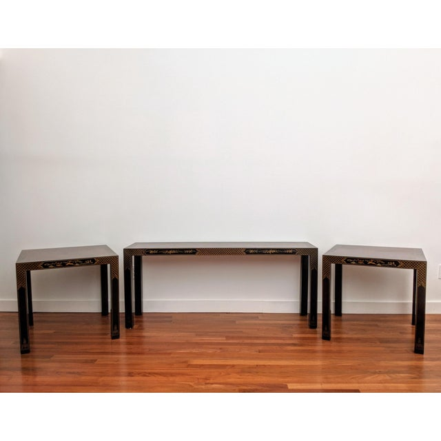 1980s 1980s Chinoiserie Console Table & Side Tables, Set of 3 (Drexel - Et Cetera Collection) For Sale - Image 5 of 13