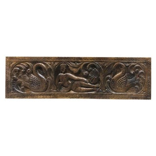 Buddha With Swans Wall Carving For Sale